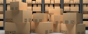 Cardboard boxes on warehouse storage shelves background. 3d illustration